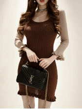 Stringy Selvedge Det Ail Contrast Color Knitting Dress