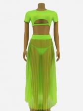 Fashion Solid See Through Gauze Skirt Three Sets
