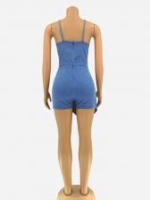 Chic Denim Shoulder Straps Ladies Romper Shorts