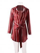 Fashion Striped Lace Up Shirt Dress