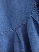 High Waist Irregular Ruffled Denim Skirt