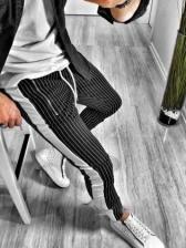 Fashion Striped Pocket Long Pants For Men