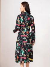 Stand Neck Floral Split Hem Boutique Dress