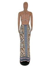 New Arrival Leopard Patchwork Sleeveless Maxi Dress