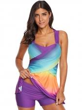 Contrast Color Strap 2 Pieces Swimsuit