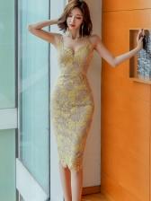 Deep V Neck Sleeveless Lace Bodycon Dress