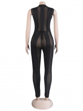 Sexy See Through Gauze Black Jumpsuit