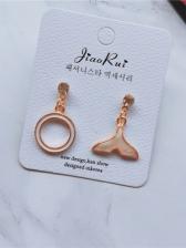 Round Fishtail Shape Asymmetric Earrings