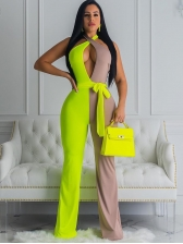 Halter Contrast Color Backless Casual Jumpsuits