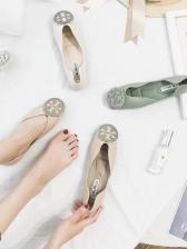 Simple Design Rhinestone Decor Womens Flats