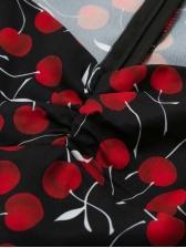 V Neck Cherry Printed Split Hem Short Sleeve Dress