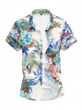 Plus Size Printed Slim Short Sleeve Shirt
