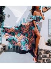 Boat Neck Printed Split Hem Maxi Dress