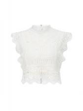 Stylish Lace Sleeveless White Blouse
