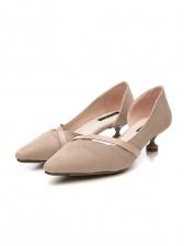 Easy Matching Suede Pointed Slip On Kitten Heels