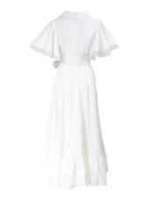Boutique V Neck Ruffled Detail White Maxi Dress
