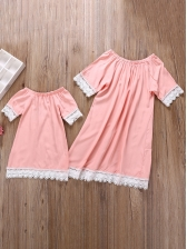 Mother And Daughter Solid Short Sleeve Dress