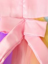 Iridescent Color Stereo Flower Gauze Sleeveless Dresses