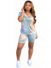 Tie Dye Short Sleeve 2 Piece Outfits