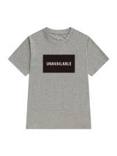 Crew Neck Letter Printed Short Sleeve T-shirt