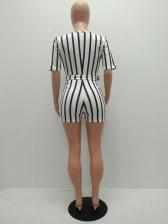 Striped Lace Up Leisure Half Sleeve Women Romper