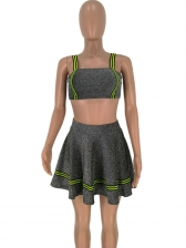 Euro Sexy Contrast Color Striped Glitter Skirt 2 Piece Outfits