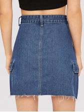 Fashion High Waist Pockets Denim Skirt