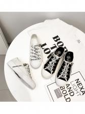 Fashion Letter Tie Wrap Canvas Shoes For Women
