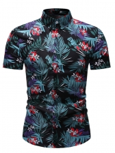 Leaves Flower Printed Casual Shirts For Men