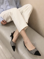Contrast Color Pointed Toe Slip On Heels