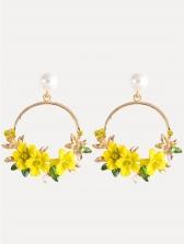 Pearl Flower Round Earrings For Women