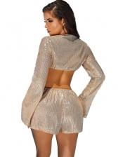 Summer Long Sleeve Sequins Women Two Piece