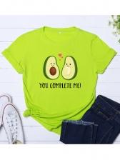 Crew Neck Avocado Print Short Sleeve Womens T-shirts