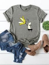 Funny Banana Print Short Sleeve Women T-shirts
