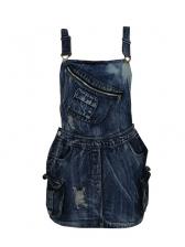 Stylish Pocket Buckle Strap Denim Dress