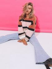 Crew Neck Contrast Color Long Sleeve Women Sweater