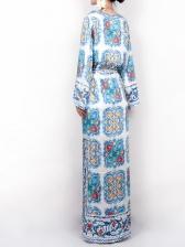 V Neck Tie-Wrap Vintage Printing Maxi Dress
