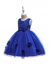 Studded Stereo Flower Gauze Long Dress For Girl