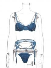 Push Up Lace Garter Belt Bra Three Sets