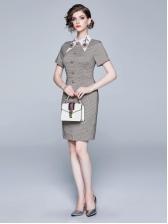 Vintage Houndstooth Beading Short Sleeve Dress