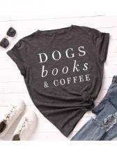 Letter Print Crew Neck Short Sleeve T-shirt For Women