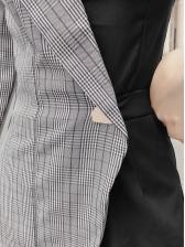Ol Style Plaid Patchwork Long Sleeve Romper