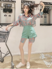Fashion Irregular Blouse With High Waist Loose Shorts
