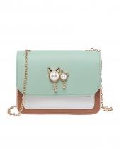 Faux Pearl Decor Contrast Color Ladies Bag