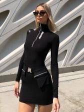 High Neck Zipper Long Sleeve Bodycon Dress