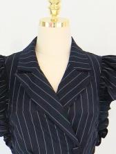 Elegant Striped Cap Sleeve Dress