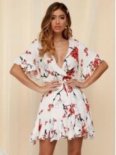 Summer Flower Flounce Hem Short Sleeve Dress