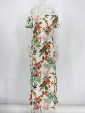 Vacation Plants Printing Split Hem Maxi Dresses