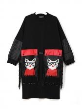 Cat Design Patchwork Pu Tassel Long Sleeve Dress
