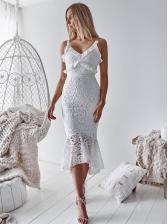 Deep V Neck Fishtail Hem Lace Cocktail Dress